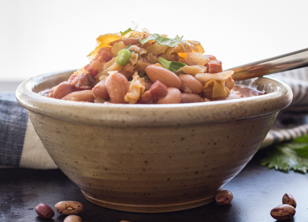 Italian Bean Pancetta Cabbage Soup, an easy delicious Comfort Soup recipe. Healthy,homemade and full of Borlotti beans, Pancetta or Bacon and Cabbage.