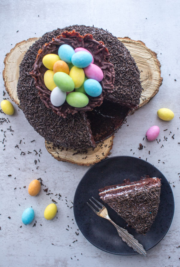 Chocolate Easter Egg Nest Cake, a delicious Chocolate Cake Dessert Recipe with a Cream Cheese Frosting and a tasty chocolate nest topping.