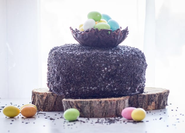 Chocolate Easter Egg Nest Cake, a deliciously Chocolatey Cake with a Cream Cheese Frosting and lots of sprinkles makes this the perfect Easter Cake Dessert.