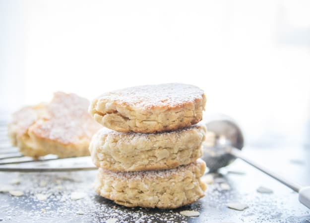 Cinnamon Almond Welsh Cakes, tastes just like a tea biscuit but made on the stove top. Easy and so delicious.