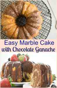 Easy Marble Cake, a delicious cake recipe made quick and easy with a food processor! Serve it with a creamy Chocolate Ganache.