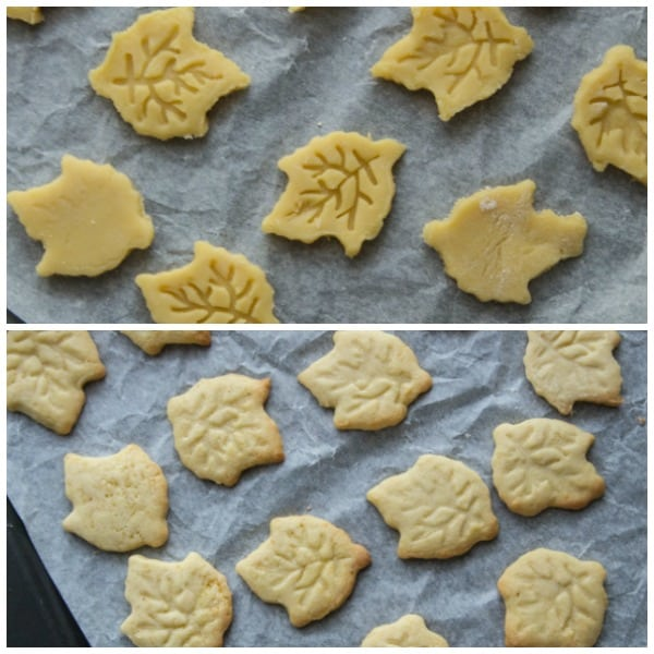 maple leaf sandwich cookies unbaked and baked cookie cut outs on cookie sheet