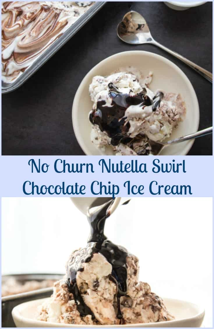 No Churn Nutella Swirl Chocolate Chip Ice Cream, fast, easy, creamy and delicious.  A Perfect  frozen dessert or snack.
