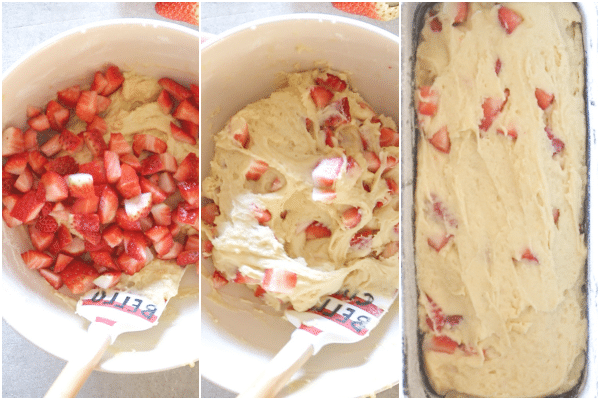 strawberry bread how to make folding in the strawberries and in the loaf pan