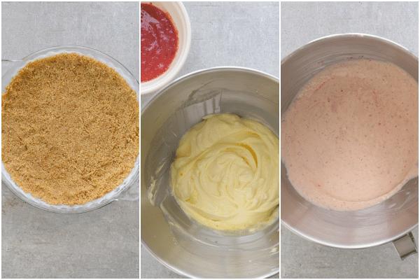 strawberry cheesecake how to make crumb crust, filling