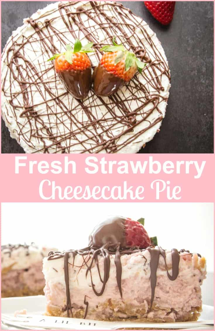 Fresh Strawberry Cheesecake Pie, an easy light mousse like dessert.  Fresh Strawberries make this the perfect homemade spring time recipe.