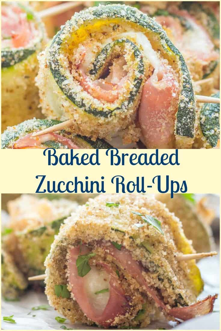 Baked Breaded Zucchini Roll-Ups are a Healthy Delicious Baked Appetizer, Side Dish or serve with a Salad and they make a yummy Main Dish.