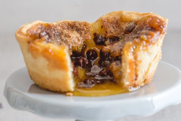 a chocolate chip butter tart cut open