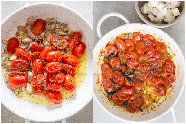 caprese pasta how to make tomatoes in a pan with olive oil, tomatoes cooked in a white pan