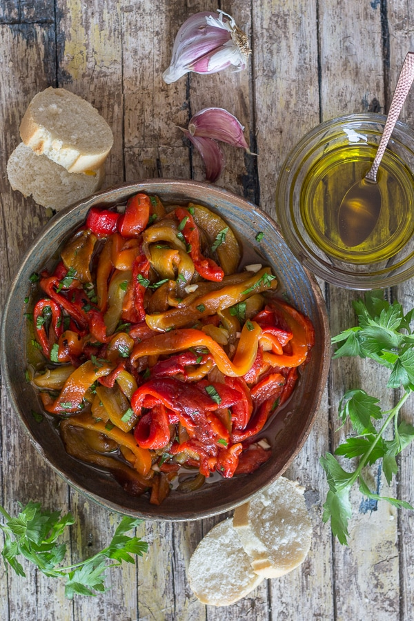 grilled peppers in a brown bowl