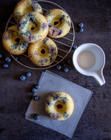 Fast and easy Blueberry Baked Donuts with a simple Lemon Glaze, a healthy homemade delicious snack, dessert or breakfast recipe.