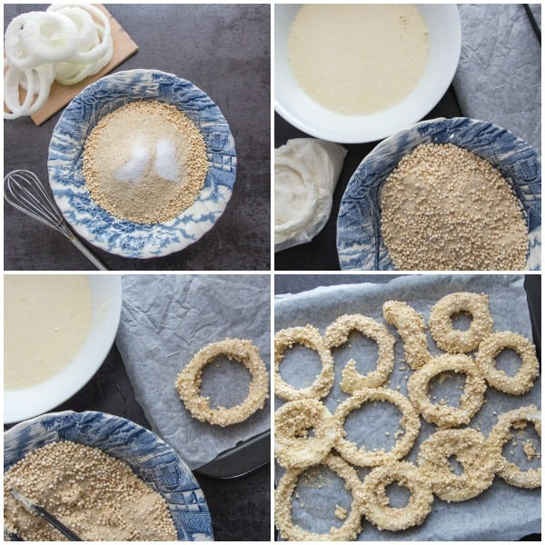how to pictures of making crispy crunchy onion rings bread mixture, milk mixture, dipped onion rings and on a cookie sheet