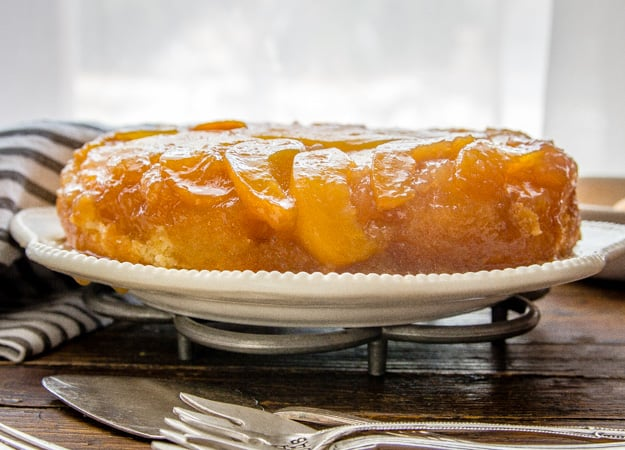 peach upside down cake on a plate