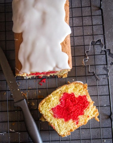 Surprise Inside Canada Day Cake a simple easy idea make this pound cake a delicious Patriotic Dessert Recipe. Family & Friends will love it.