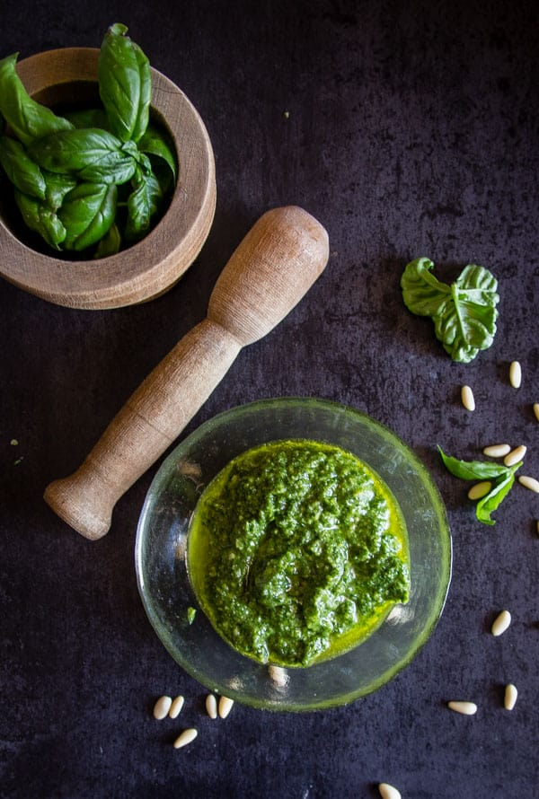 Classic Basil Pesto, an easy homemade delicious pesto recipe. Made in 5 minutes with fresh basil. Video included.