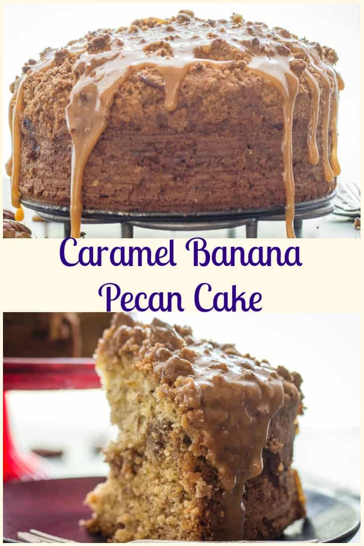 Caramel Banana Pecan Cake recipe, an easy delicious Homemade Crumb Cake with the perfect caramel drizzle.  Moist & Quick.