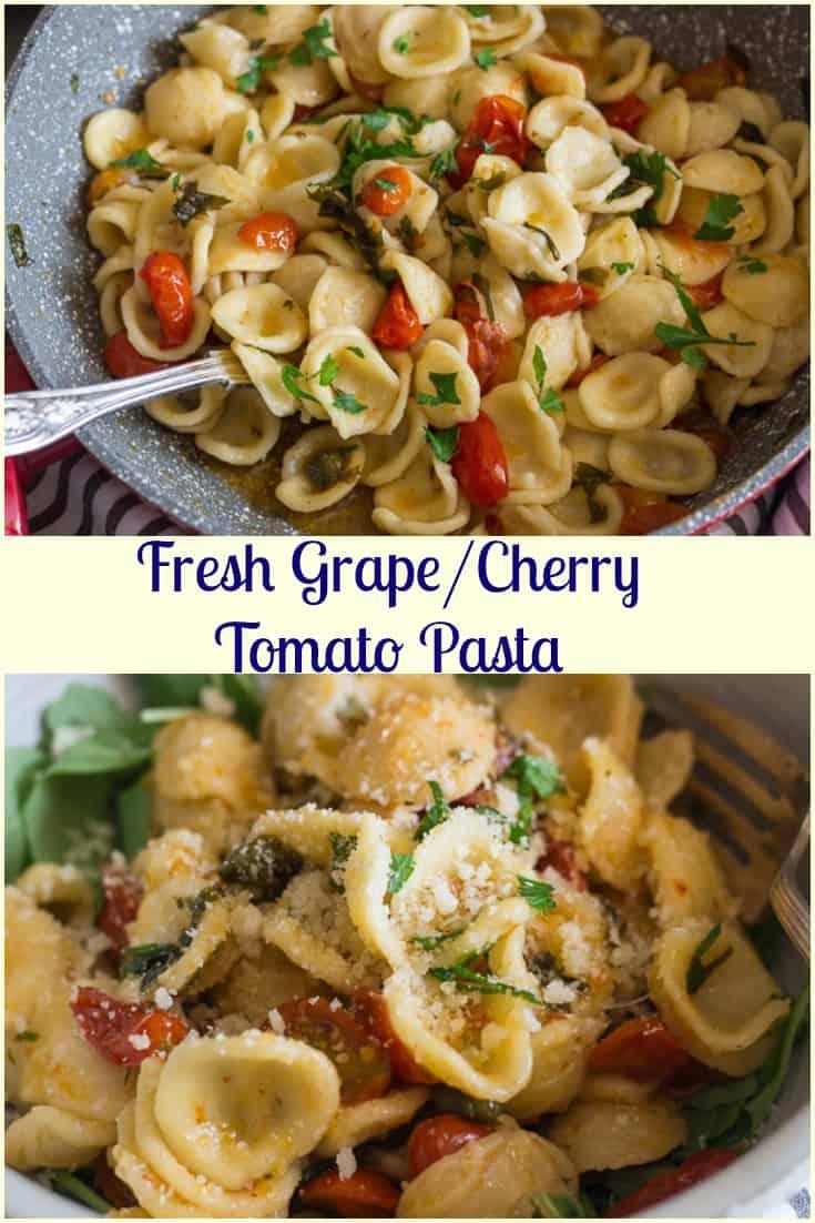 Fresh Grape Tomato Pasta, a delicious end of summer pasta recipe.  Fresh tomatoes, spices and Orecchiette Pasta make it dinner perfect.
