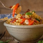 roasted pepper pasta salad in a bowl