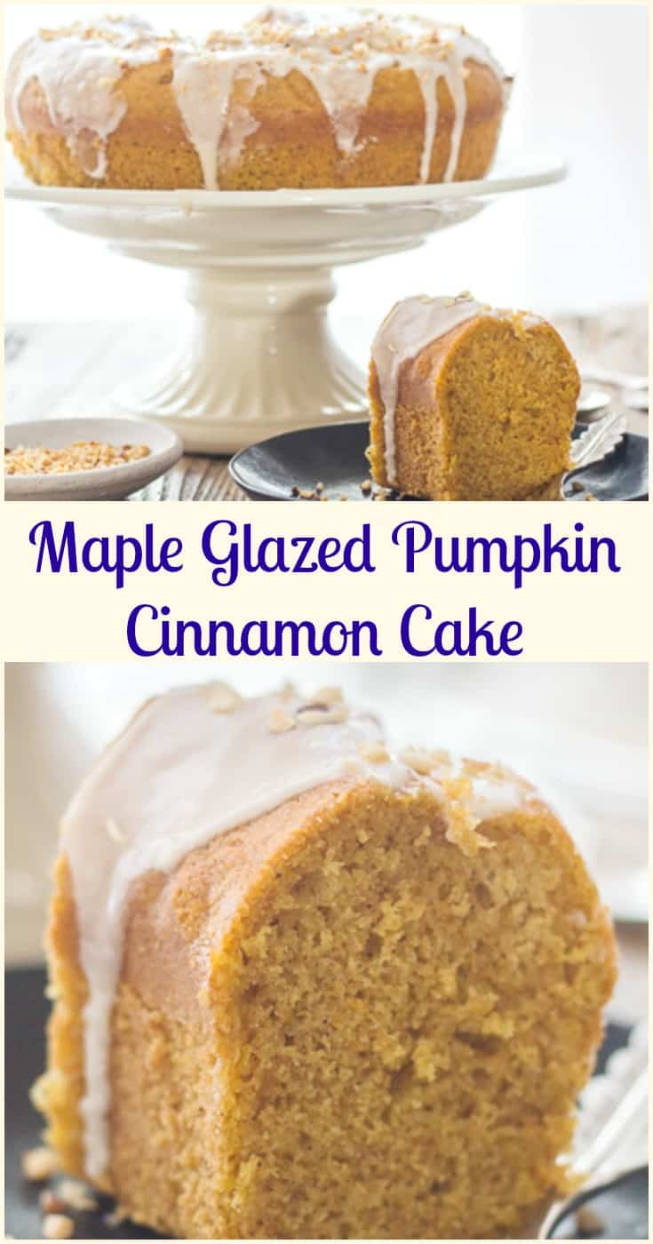 Maple Glazed Pumpkin Cinnamon Cake, a delicious Pumpkin Bundt Cake Recipe with a 3 ingredient Maple frosting.  The perfect Fall Desert.
