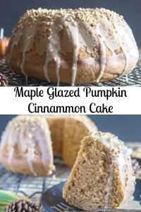 Maple Glazed Pumpkin Cinnamon Cake, a delicious Pumpkin Bundt Cake Recipe with a 3 ingredient Maple frosting. The perfect Fall Desert. #pumpkincake #cake #dessert #falldessert #pumpkincinnamoncake #mapleglaze