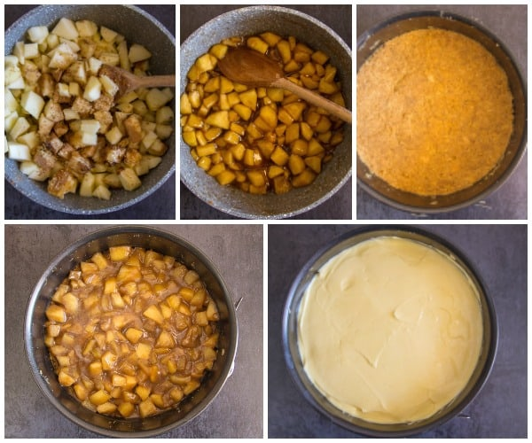 5 how to make cinnamon apple cheesecake, from cooking the apples to making the crust and putting it together