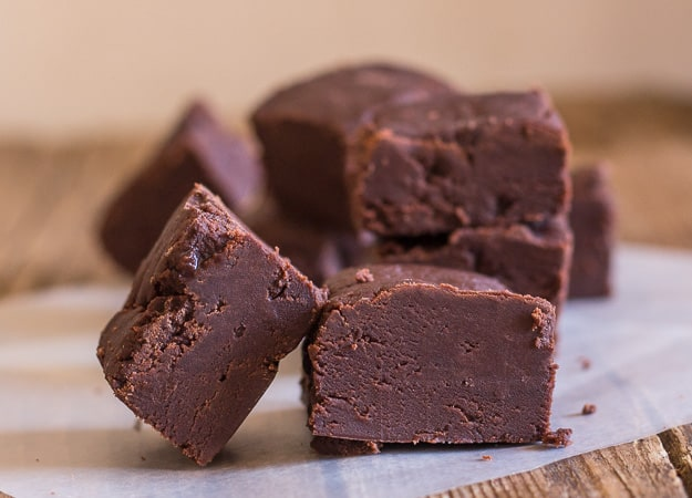 pieces of chocolate fudge, one leaning against another