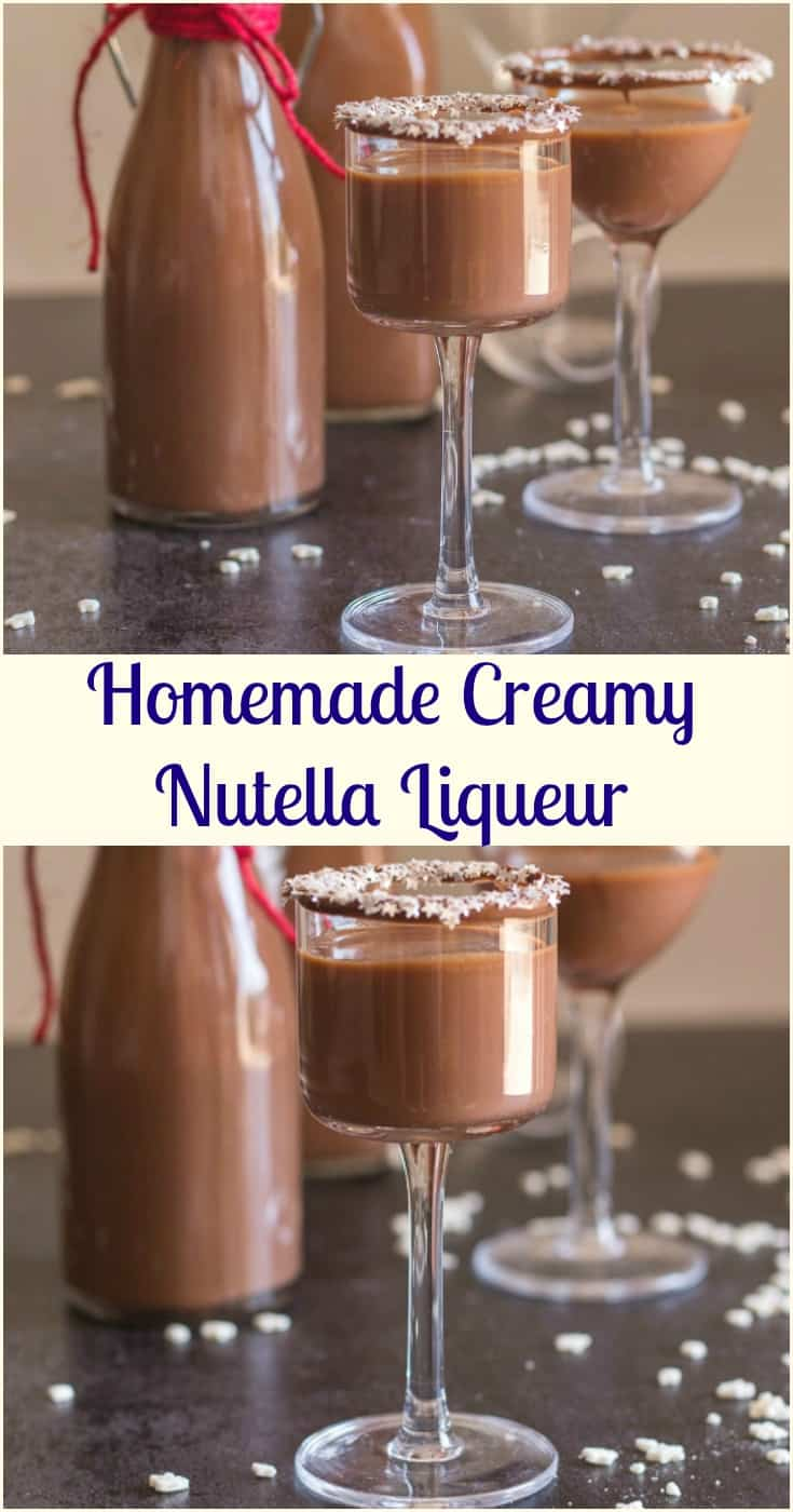 Homemade Creamy Nutella Liqueur an easy delicious #hazelnut cream #liqueur. Cold or on the rocks is the perfect #Christmas holiday drink or dessert.