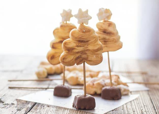 3 puff pastry Christmas trees standing