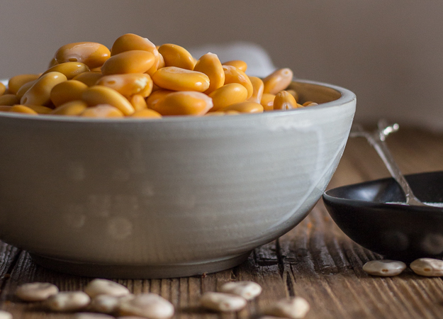 ready to eat lupin beans in a grey bowl