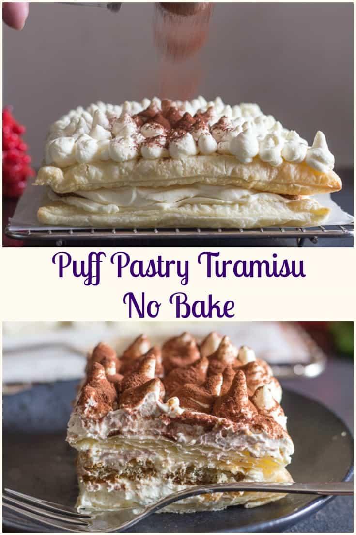 Easy  Puff Pastry Tiramisu the traditional creamy Tiramisu filling layered between puff pastry and coffee dipped lady fingers. The perfect no bake holiday dessert. #tiramisu #dessert #Italian #puff pastry