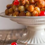 struffoli Italian honey balls on a plate