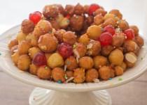 upclose photo of struffoli Italian honey balls