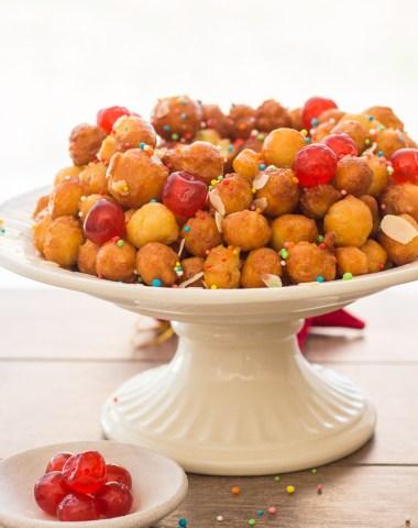 Struffoli Italian Honey Balls, delicious crunchy pastry balls covered in honey, a traditional Italian Christmas dessert recipe from Naples.