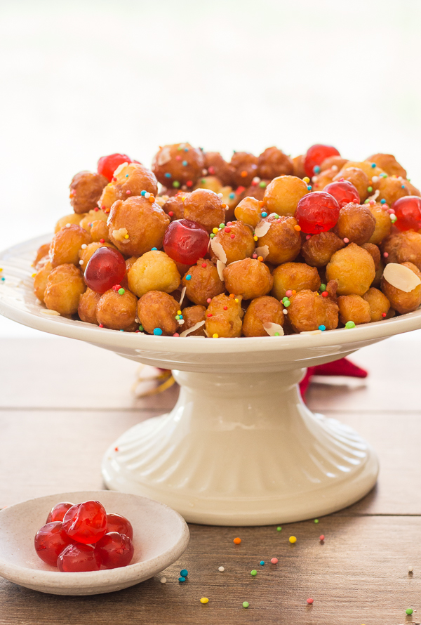Struffoli Italian Honey Balls, delicious crunchy pastry balls covered in honey, a traditional Italian Christmas dessert recipe from Naples.