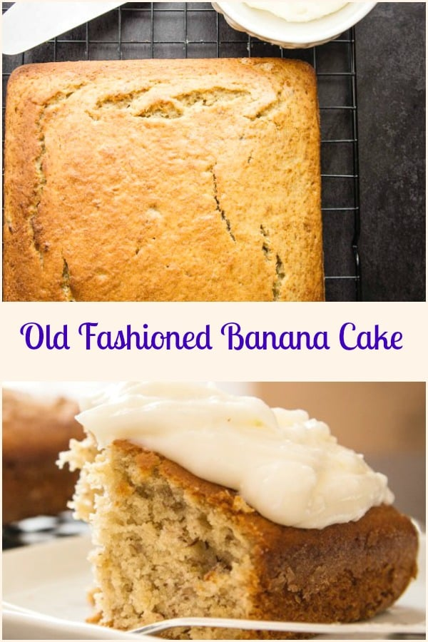 Old Fashioned Banana Cake the best and easy Cake Recipe, the perfect dessert or snack cake.  Frosted or Plain it's perfect. #cake #bananacake #banana #dessert