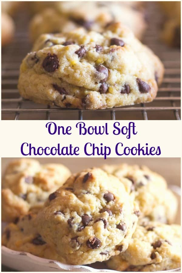 One Bowl Soft Chocolate Chip Cookies, a fast and easy Chocolate Chip Cookie Recipe, made in one bowl, full of chips and no refrigerating the dough!  Drop by spoonfuls and bake. #cookies #chocolate #sweets #snack