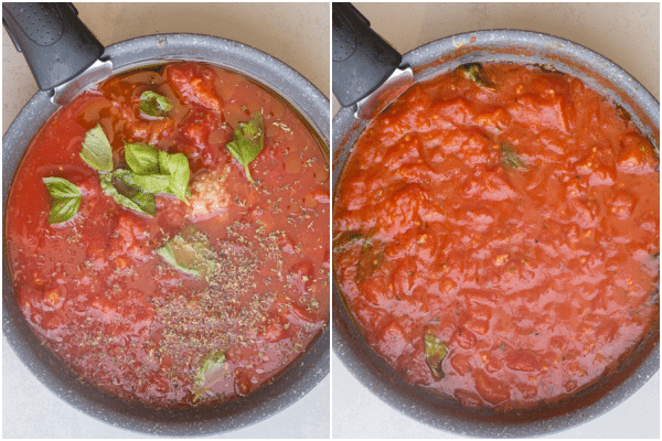 eggplant parmesan making the sauce, before and after cooked in a black pan