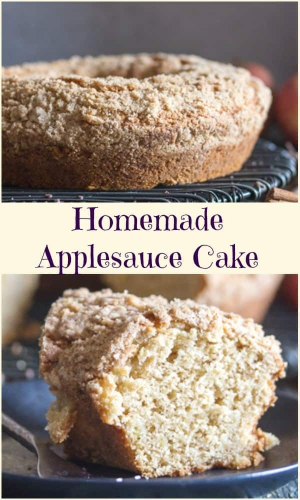 Homemade Applesauce Cake is more than just a simple Apple Cake.  So moist, it's made with homemade applesauce, a touch of cinnamon and a delicious brown sugar and cinnamon crumb topping. The perfect breakfast, snack or dessert Cake. #applecake #applesaucecake #bundtcake #dessert #breakfast #breakfastcake