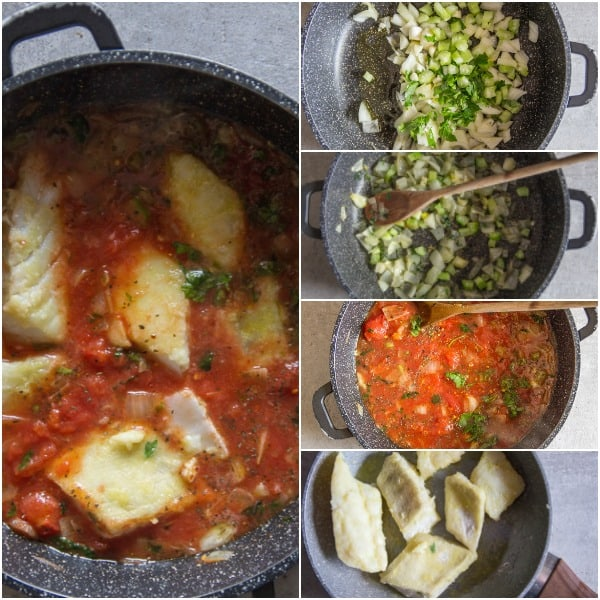 how to make Baccala Recipe onions chopped, pelati tomatoes added and baccala browned in a pan
