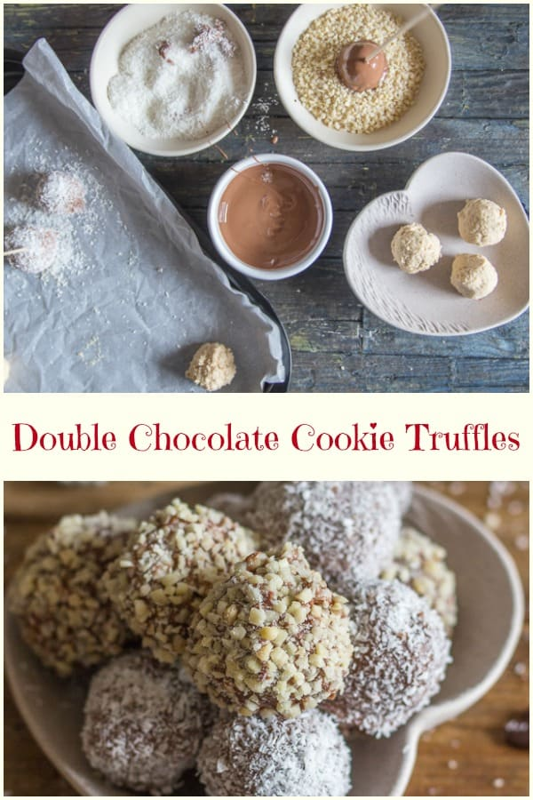 Double Chocolate Cookie Truffles an easy and delicious homemade chocolate truffle recipe.  Made with vanilla wafers, white and milk or dark chocolate, ground nuts or coconut.  The perfect after dinner treat. #truffles #chocolate #cookies #cookiedoughtruffles #nobake