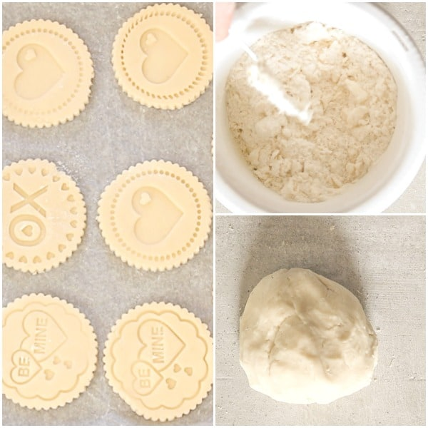 how to make stamped cookies dough, stamped and cut out cookies on a cookie sheet