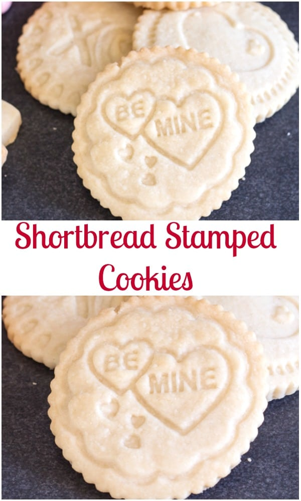 Stamped Shortbread Cookies are a delicious buttery melt in your mouth cookie that makes the perfect Valentine's Day Treat.  Stamped with your favourite message!  The kids will love helping you bake these Shortbread Cookies. #valentinesday, #cookies #stampedcookies #dessert