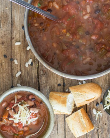 vegetarian chili in a pot and in a bowl