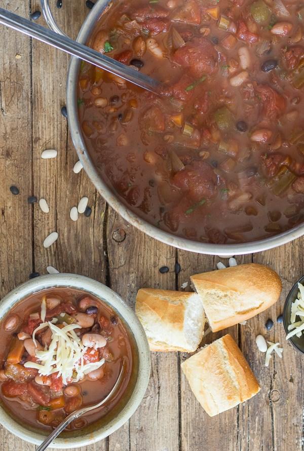 Homemade 3 Bean Vegetarian Chili
