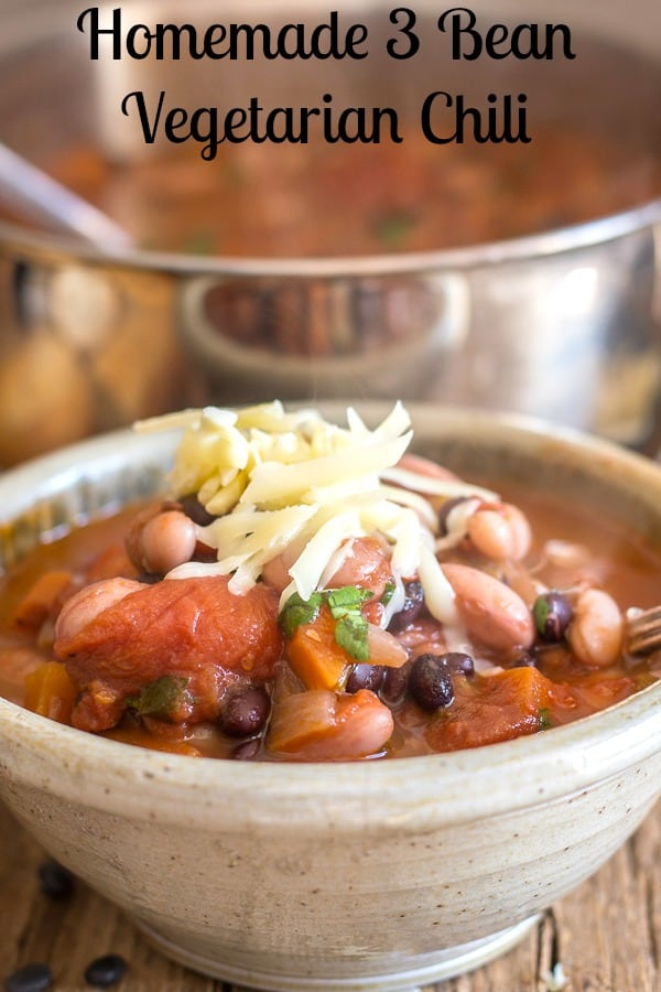 Homemade 3 Bean Vegetarian Chili, made with Black Beans, Borlotti Beans and white beans, add some carrots, celery and a few spices and you won't even miss the meat. The perfect meatless meal. #celebratingfoodholidays #chili #vegetarian #vegan #beans