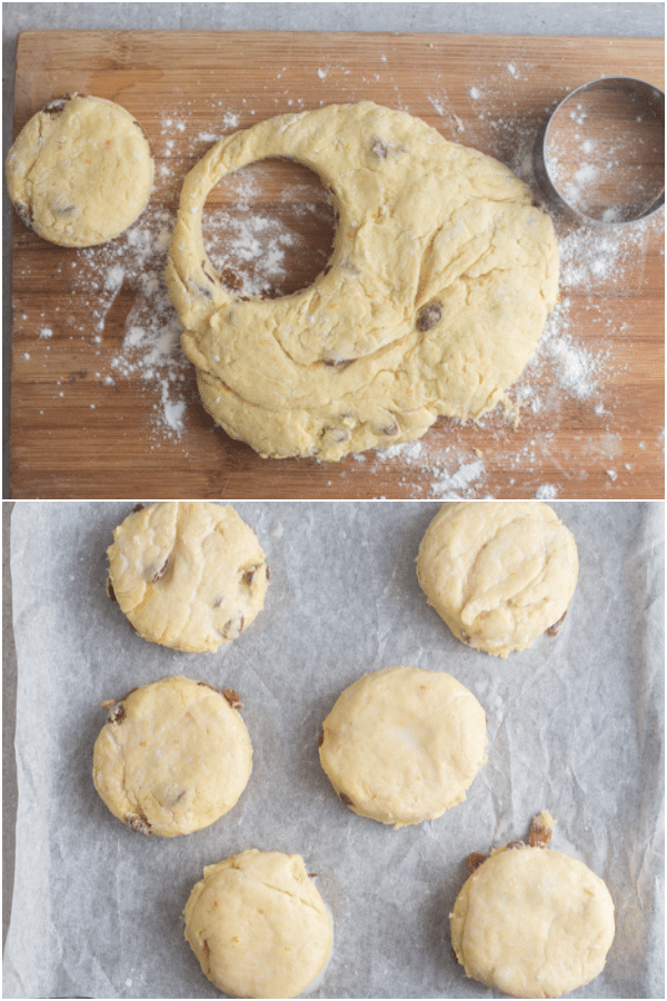 hot cross scones dough rolled and cut