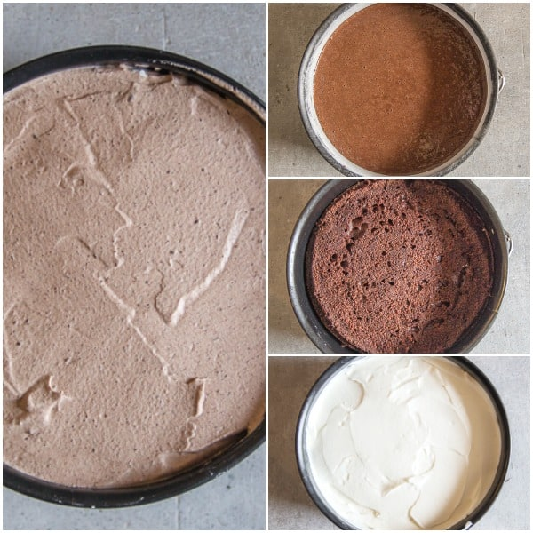 mousse cake how to make, cake baked, white mousse and dark chocolate mousse