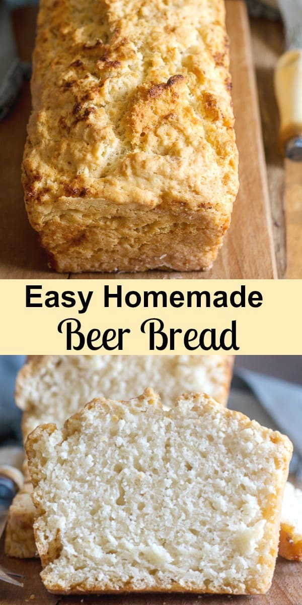 Beer Bread, this delicious, easy to make Homemade bread is made with only 6 ingredients. Not too sweet, perfect anytime especially warm out of the oven. It will become a family favourite.  #beerbread #quickbread #sweetloaf #dessert #breakfast #snack