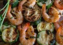 up close grilled shrimp skewers