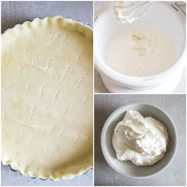 strawberry pie how to make, unbaked pie crust, mascarpone cream filling whipped